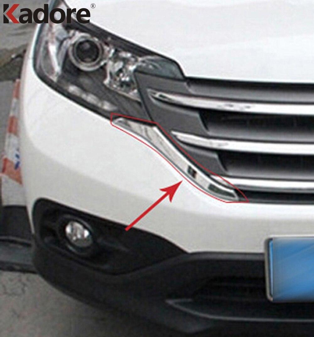 Pour Honda CRV 2012 2013 2014 ABS Chrome Grilles avant couvercle décoratif cadre garniture Grilles décoration bande moulures 2 pièces/ensemble