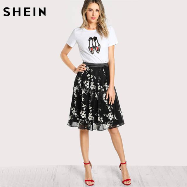 5aff6a2b59 SHEIN Women Cotton T shirt New Fashion Womens Lovely Shoes Applique T-shirt  White Short