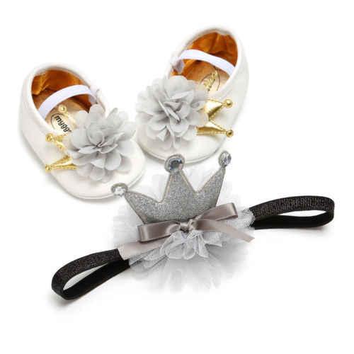Newborn Princess Shoes Infant Baby Girls Floral Non-Slip Lace Shoes Fashion Casual Baby Shoes+Flower Headband 2Pcs Set