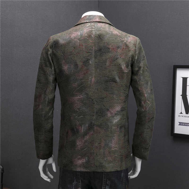 コーデュロイブレザーメンズスリムフィットブレザー Masculino Veste 衣装オムビジネスカジュアル 2019 秋冬プリントスーツのジャケットの男性