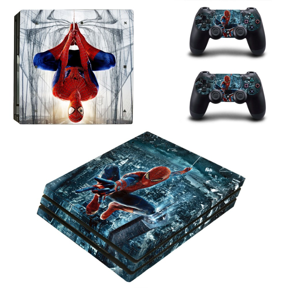 OSTSTICKER Fly Siper Man for Sony PS4 Pro For Sony Play Station 4 Pro Console and Controllers Skins Decal