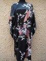 Китайская Национальная Тенденция Черный Женский Шелковый Халат Ванна Платье Ночная Рубашка Повседневная Главная Платье Сексуальная Отпечатано Пижамы Один Размер