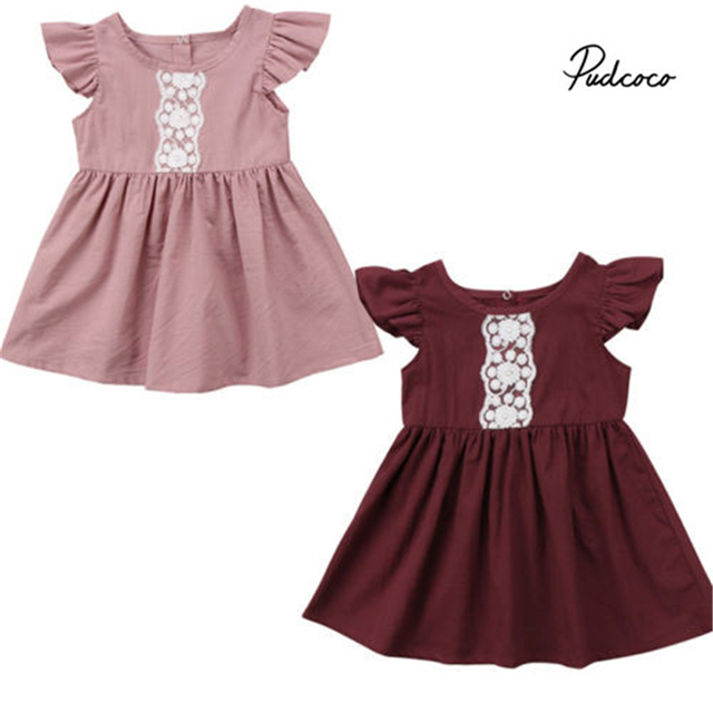 0 24m Kids Baby Girls Clothes Lace Princess Short Fly Sleeve Toddler