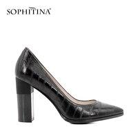 Vender Marca SOPHITINA, zapatos de tacón de cuero auténtico para mujer, zapatos de tacón alto clásicos con punta estrecha, zapatos elegantes para fiesta de boda D17