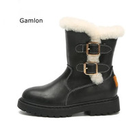 Gamlon Girls Boots Winter Children Plus Velvet Warm Cotton Shoes Fashion Mid Boot 2017 New Girls Shoes Boys Leather Boots