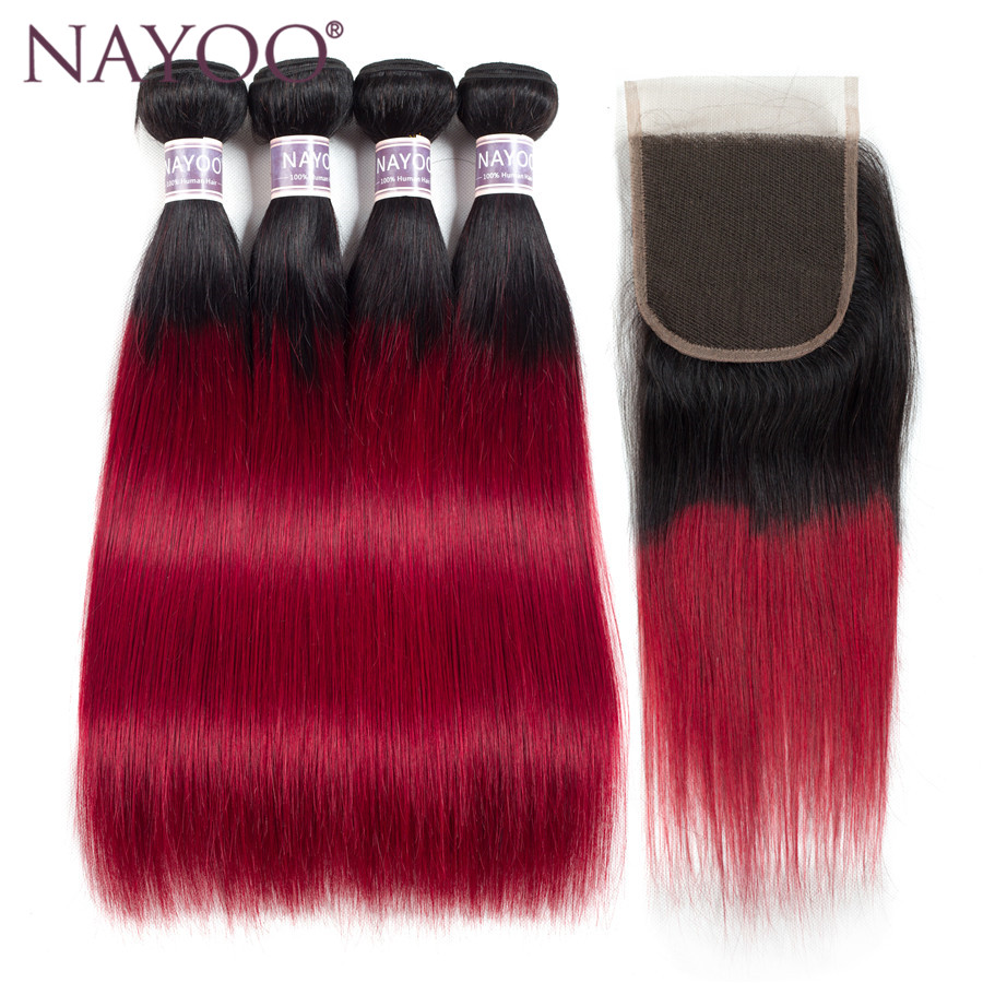 NAYOO Hair Products Ombre Brazilian Hair Weave 4 Bundles With Closure T1B/Red Color Non Remy Hair Extension No Tangle