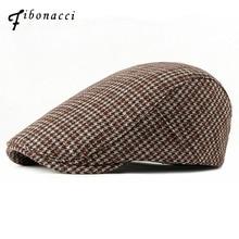 Fibonacci 2018 New Autumn Winter Wool Blend Beret Hats Fashion Plaid Women Men Newsboy Cap