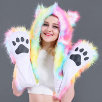 Shining LED Women Sexy Faux Fur Hats Scarf Gloves Plush Cartoon Wolf Caps Funny Toys for Girls Christmas Halloween Gifts