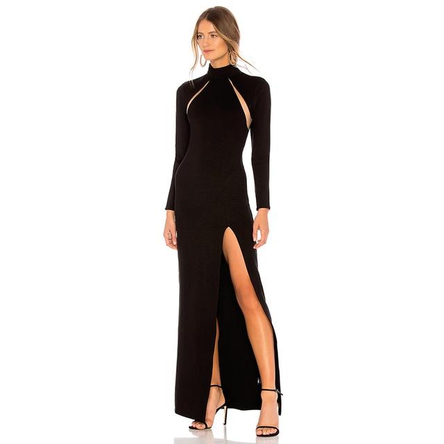 7606a784e1c3 Backless High Split Long Sleeve Hole Ankle-Length Elegant Party Dress  Bodycon Casual Midi Dresses HL4139