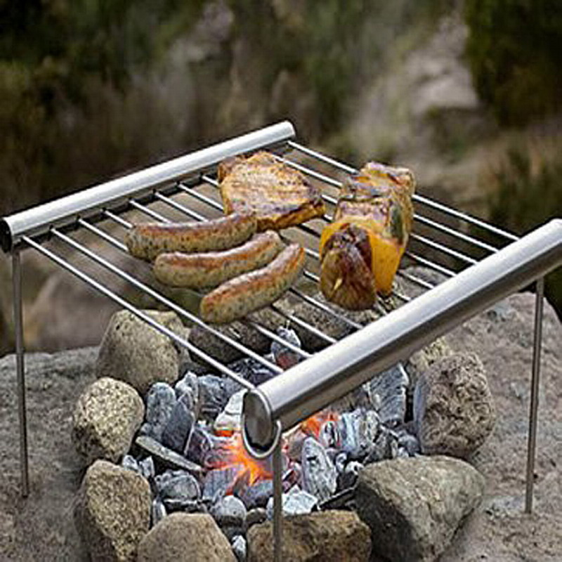 Reusable Outdoor Travel Camping Protable BBQ Grill Stainless Steel Simple Tube BBQ Picnic BBQ Oven Cooking Barbecue Tool T0.35