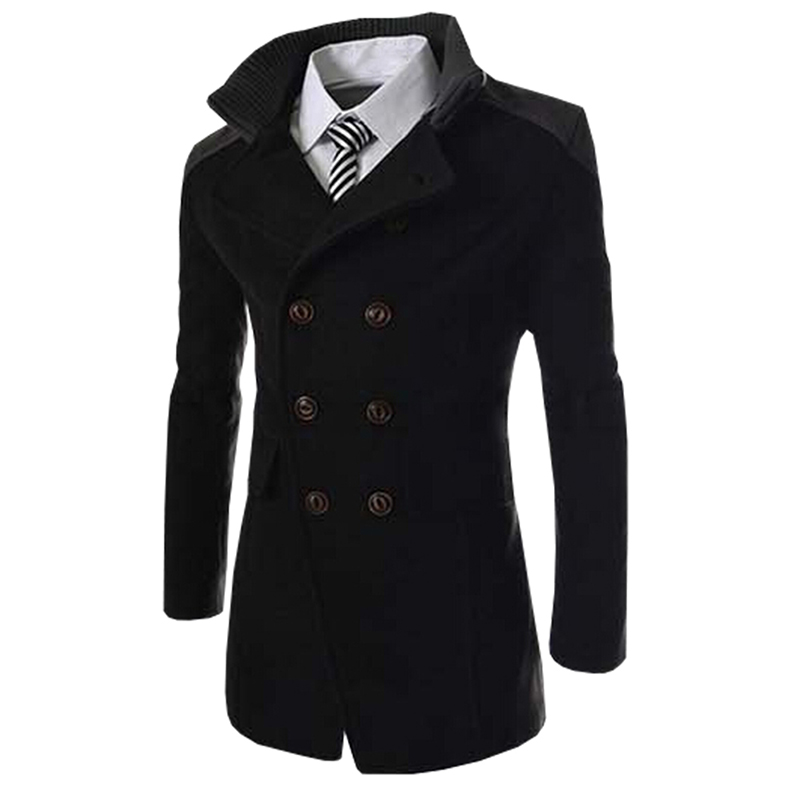 Hot Sale Men Brand Overcoats Autumn Long Wool Coat Men Fashion Turn-down Collar Wool Blend Double Breasted Pea Coat Jacket