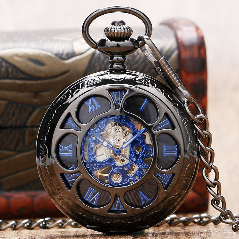 New Arrival Unisex Half Hunter Hand Wind Mechanical Pocket Watch Antique Stylish Cool Blue Roman Numbers Display Pendant Chain