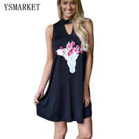 Floral Print Keyhole Causal Elegant Women Dress Solid Black O Neck Sleeveless Tank A Line Office