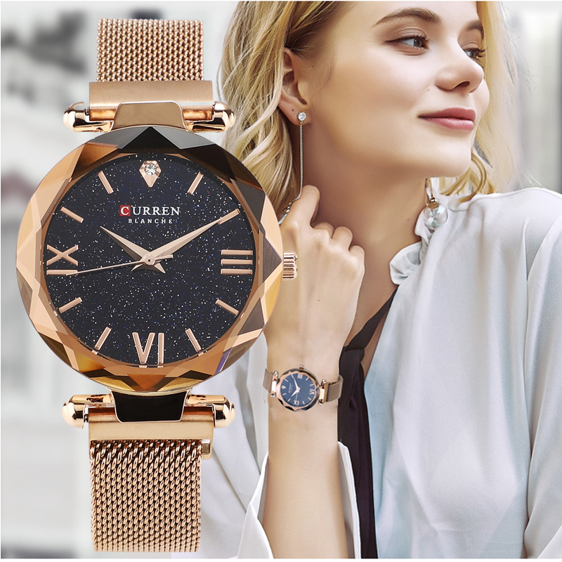 CURREN Luxury Women Watches Mesh Ladies Clock Magnet Buckle Starry Diamond Geometric Surface Fashion Casual Quartz Wristwatch