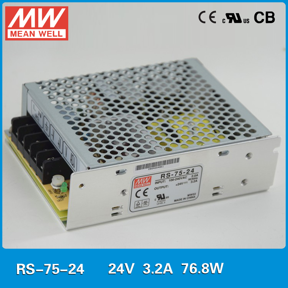 Original MEAN WELL Power Supply 24V 75W 3.2A Meanwell RS-75-24 UL TUV CB EMC CE approved 110/220VAC to 24VDC power supply SMPS original meanwell dr 15 5 12w 5v 2 4a industrial din rail mounted power supply ul tuv cb emc ce