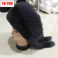 2019 New Poppular Natural Real Fox Fur Hat Winter Women Adjustable Size 100% Real Fox Fur Cap Warm Russia Real Fox Fur Caps