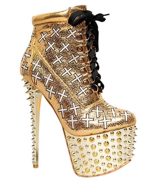 Pointes d'or plate-forme Punk bottes femmes minces talons hauts Rock bottines Rivets moto bottes dame chaussures de fête montrent des talons