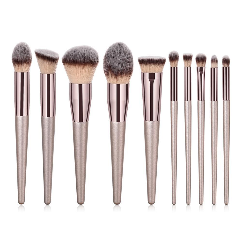 10Pcs Champagne Gold Makeup Brushes Face Eye Make Up Foundation Cosmetic Brush Mini Large Eye Shadow Brush Set Pincel Maquiagem