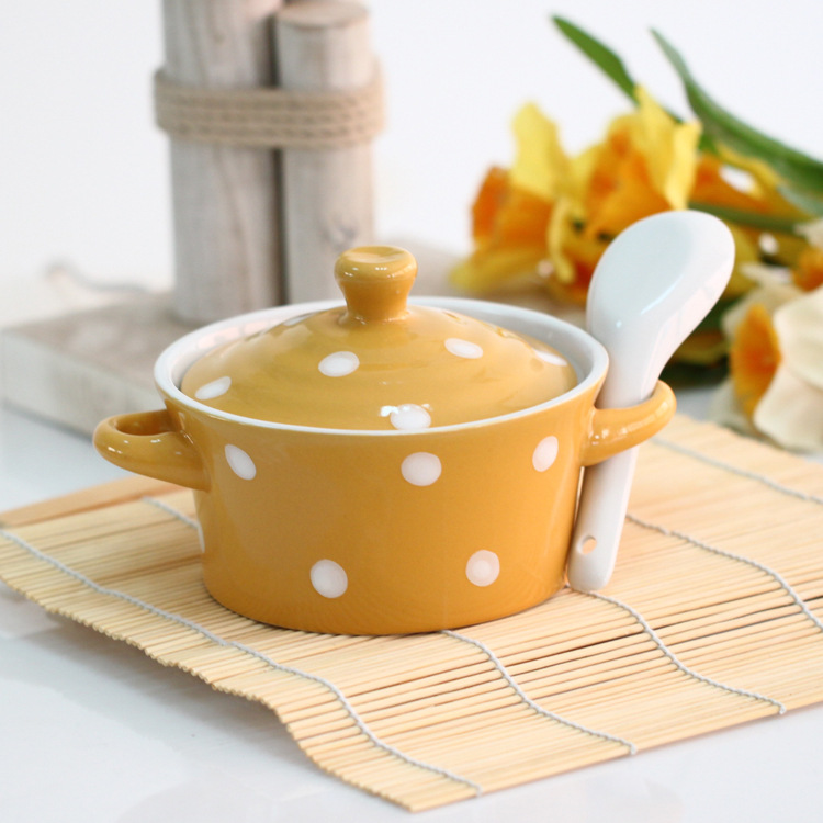 Fabulous Lovely ceramic white spots tureen with lid and spoon tableware  HN36