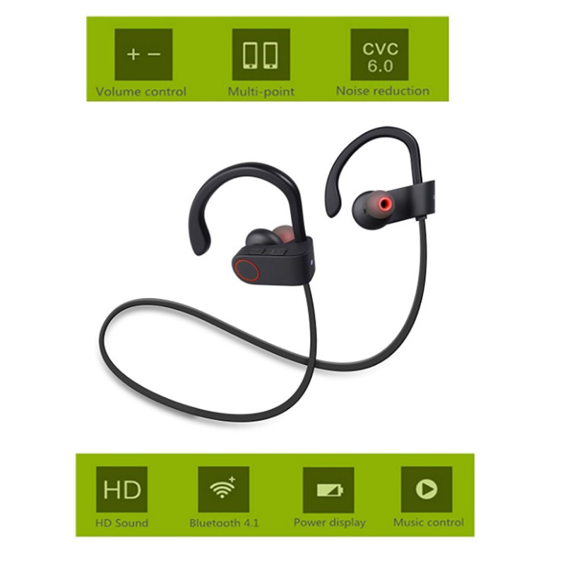 U8 Wireless Bluetooth 4.1 Sport Earphone Handfree Bluetooth Headset Earphones with Mic Sports Ear-hook Music Stereo Earphone O3 bluetooth headset wireless bluetooth 4 1 sport earphone handfree headphones with mic sports ear hook earphone for xiaomi pc