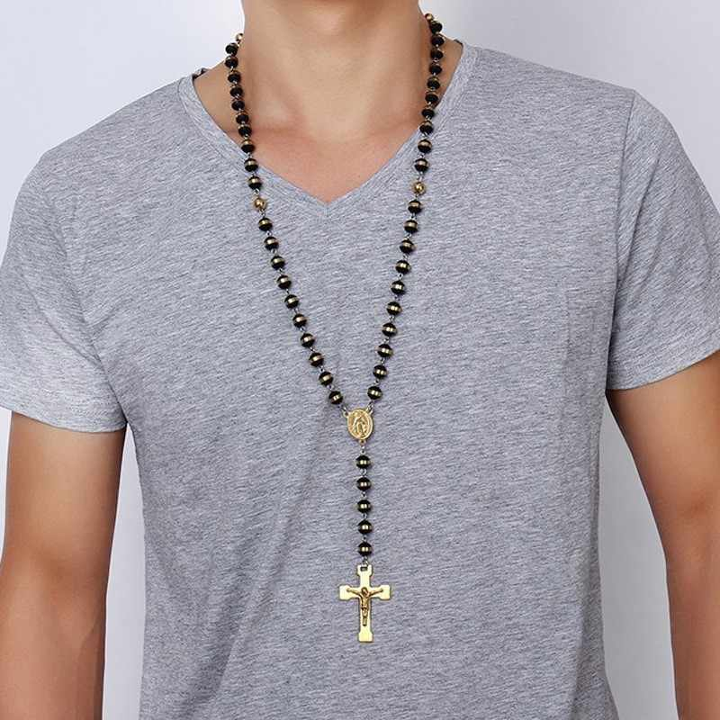 Men,Women's Stainless Steel Rubber Pendant Necklace Gold Tone Black Virgin Mary Jesus Christ Crucifix Cross Rosary 30 Inch Chain