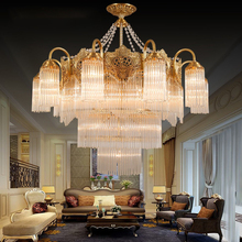 European-style all-copper crystal chandelier French light luxury living room dining bedroom lighting simple villa hall lamp