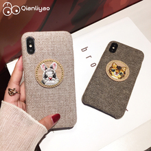 Qianliyao Cute Cat Rabbit Panda Phone Case For iphone X XS Max XR 7 8 6 6S Plus 11 Pro Cases Circle Patch Fabric Back Cover