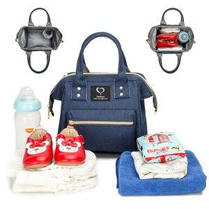 Image 2 - Mini bolsa de pañales para madres, bolsos de bebé para madres, familia, bandolera con correa de hombro extraíble, mochila de maternidad para lactancia