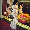 Олеся малинская длинные вечерние платья мантия-де-вечер 2015 с длинным рукавом с цветами оборками само русалка Vestido