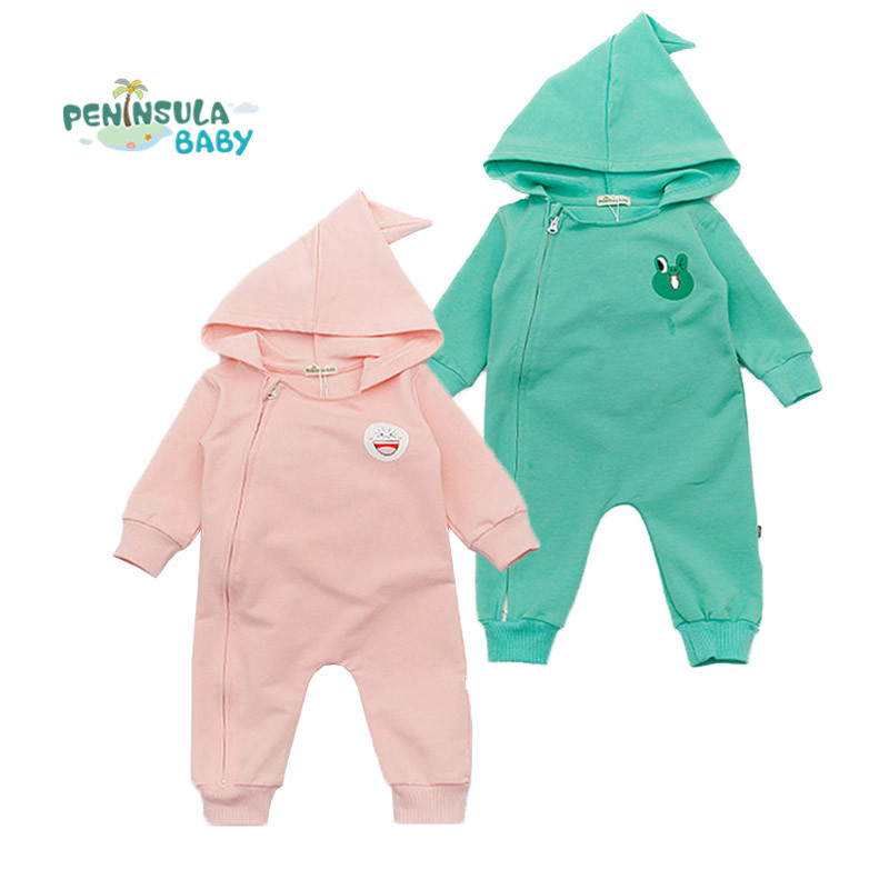 2017 New Spring Cartoon Hooded Baby Rompers Long Sleeve Zipper Jumpsuit Newborn Boy Girl Autumn Clothing Toddler Costume warm thicken baby rompers long sleeve organic cotton autumn
