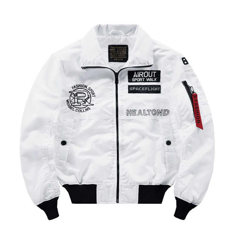 Japon streetwear hip hop ceketler erkekler için gevşek kırmızı ordu donanma beyaz bombacı ceket erkekler Bahar Sonbahar beyzbol pilot ceket ceket