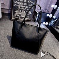 Simple Fashion Handbags Women Bags Solid Shoulder Tote Large Capacity Bag Ladies Leather Handbags Black Bucket