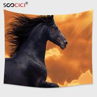 Cutom Tapestry Wall Hanging,Animal Decor Portrait of Galloping Frisian Horse with Warm Hot Sun Rays Intensity Honor Grace Theme