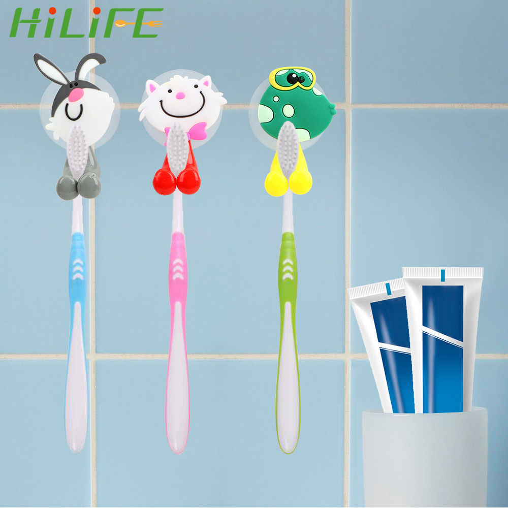 HILIFE 1PC Cartoon AnimalSuction Cup Toothbrush Holder Wall Mount Rack Bathroom Product Toothbrush Cover Storage image