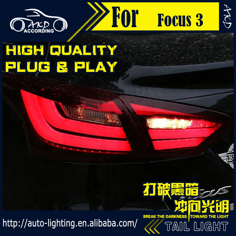 AKD Car Styling Tail Lamp for Ford Focus Tail Lights 2012 Sedan LED Tail Light LED Signal LED DRL Stop Rear Lamp Accessories high quality chrome tail light cover for ford focus mk3 sedan 12 13 free shipping