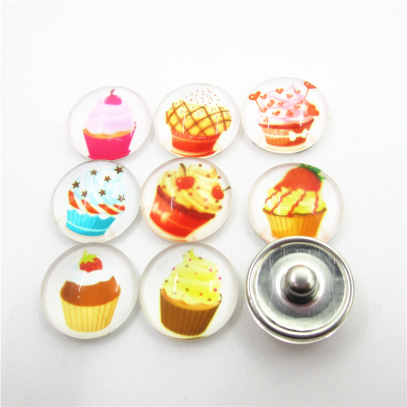 10pcs/lot Mix Cupcake Snap Buttons 18mm Glass snap buttons Ginger Snap Bracelet&Bangles DIY Snap necklace Jewelry Charms image
