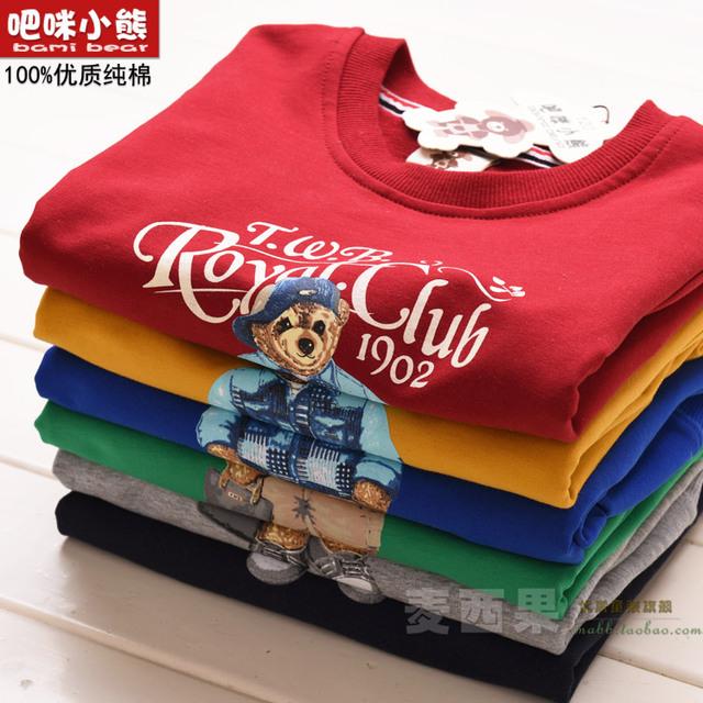 De algodón de manga larga Camiseta de Los Niños Muchachas de Los Muchachos de primavera y otoño nuevo bebé T suéter de la capa Camiseta que basa la camisa