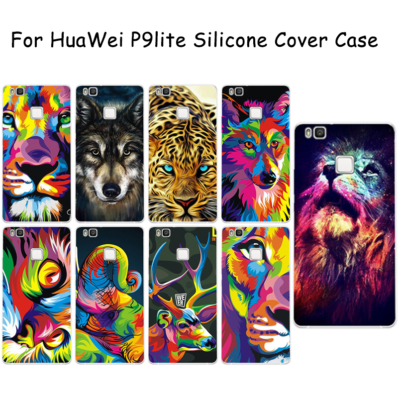 For HuaWei P9lite Silicone Case Tiger Lion Pie Leopard Owl Elephant Colored Animals Protective Cover Ultra Thin Soft TPU