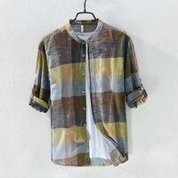 2018 Spring Long Sleeve Retro Linen Shirt Men Brand Fashion Plaid Shirt Men Casual Cotton Mens