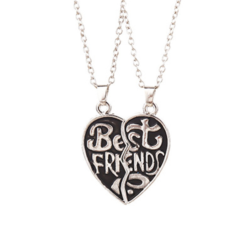 3 Design Broken Heart Antique Tibetan Silver Letter Best Friend Couple Pendant Necklaces For Brother Friendship Jewelry Collier