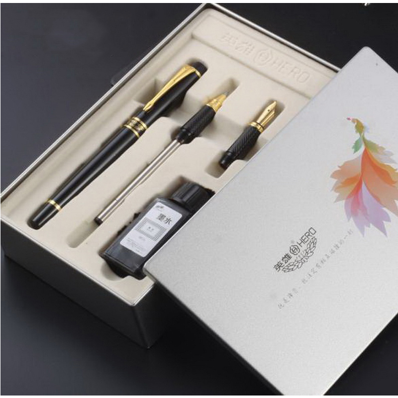 120710/Fountain pen gift set /school students writing practice pen with office /Metal paint pen pole/Iridium nib picasso 902 fountain pen nib iridium point newest model new design promotional set pen design gift
