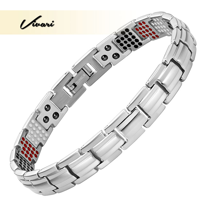 Vivari Titanium Women's Health Bracciali e bracciali magnetici sottili in germanio stretto Benefit Healthy 4 Elements Pulseras Hombre