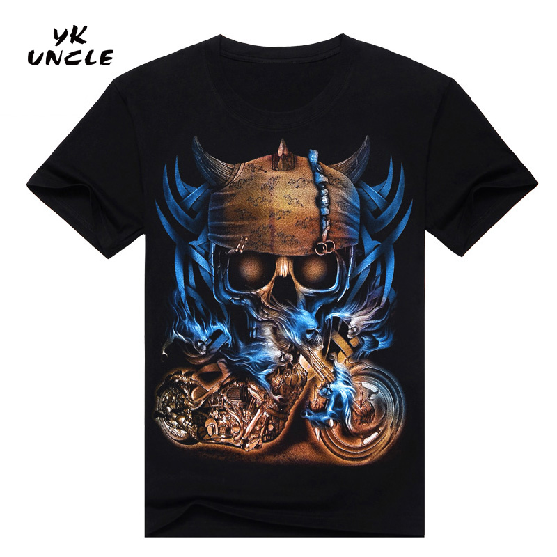 Hip Hop T shirt Lelaki Tshirt T-shirt 3D Sickle Skulls Motosikal Shackle Dicetak Kasual-shirt Mens Kasual Pakaian Tee 3XL, YK UNCLE