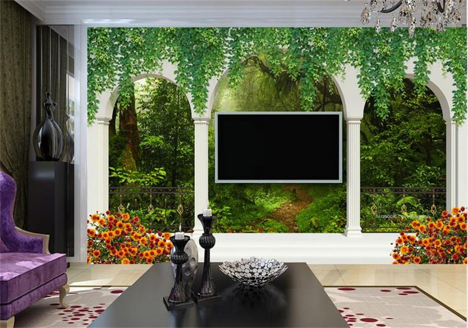 Custom photo 3d wallpaper Non-woven mural column arches forest view decoration painting 3d wall murals wallpaper for living room