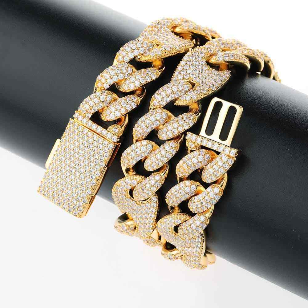 JINAO 16mm i 20mm Miami nowe pudełko zapięcie kubański Link Chain złoty srebrny naszyjnik Iced Out cyrkonia Bling Hip hop dla mężczyzn biżuteria