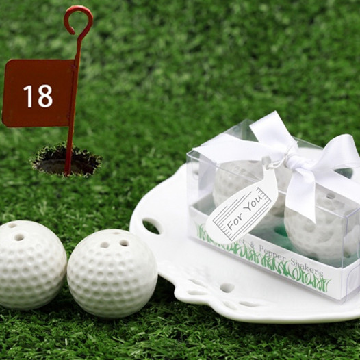Free shipping 20pcs/lot Golf Ball Salt and Pepper Shaker wedding favor/ Club Promotion Gifts