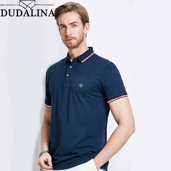 Dudalina koszulka polo z krótkim rękawem męska 2020 letnia Casual i marka biznesowa haft w paski koszulki polo Para Hombre tanie i dobre opinie Na co dzień REGULAR Poliester Oddychająca Kontrast kolorów 65 cotton