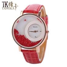 2017 new fashion Women's watches Leather Sand Moved Rhinestones Bracelet Quartz wristwatches Women couro Clock 6colors Relogio
