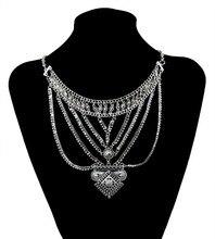 Мода ожерелье серебряная цепочка bhoker нагрудник ожерелье многослойные цепи металла старинные цветок воротник себе ожерелье женщины ювелирные изделия