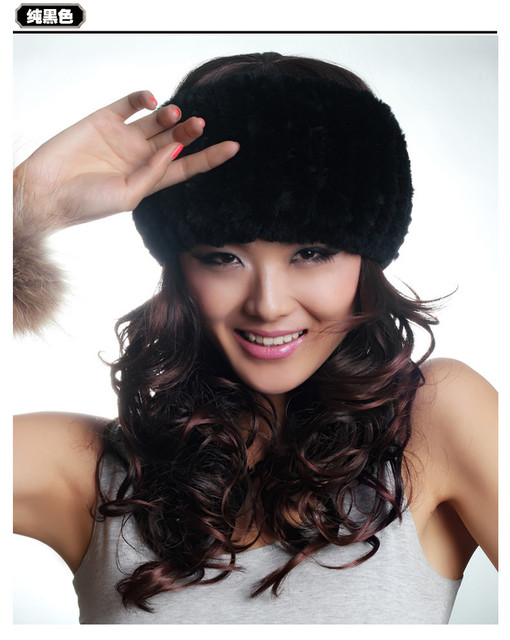 H68- natural rex rabbit fur women's hat,knitted warm gray white red brown scarf .